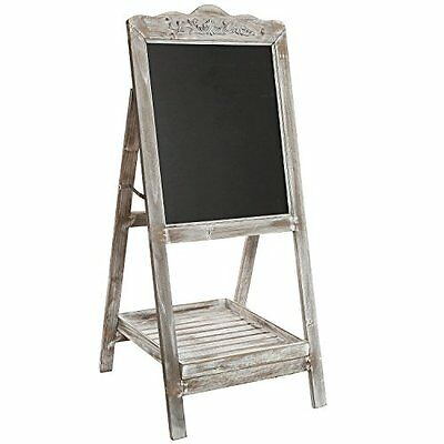 MyGift® Vintage Style White Washed Brown Wood Chalk Board Easel / Freestanding