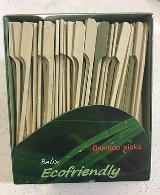 Bamboo Skewers Picks 150mm by Belix 250pk Oar Shape Burgers Sandwiches Canapes