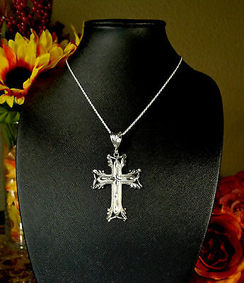 Genuine Italian 925 Sterling Silver Fancy Cross Pendant with Rope Chain Necklace