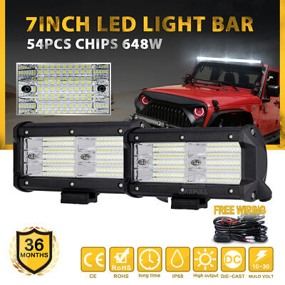 """15"""" 432W LED Tri-Row Light Bar Philips Spot Flood Combo Offroad Work Driving 4WD"""