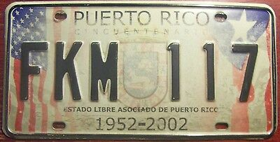 Puerto Rico License Plate With Us & Pr Flags 50Th Anniversary Special Issue Nice