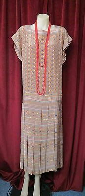 20's Style Camel With Red/Cream/Navy Blue  Art Deco Design Flapper Dress/Jacket