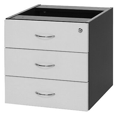 3 Drawers White Lockable Hanging Fixed Pedestal Office Home Furniture Storage