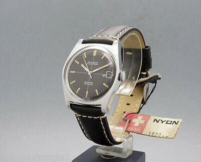 New Old Stock 34mm NYON nice black dial 25j vintage AUTOMATIC watch NOS F 4462