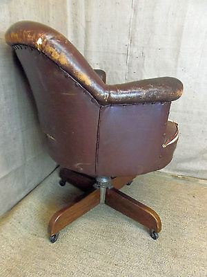 Antique leather chair, desk chair, tub chair, office, brown leather, shabby chic • £145.00