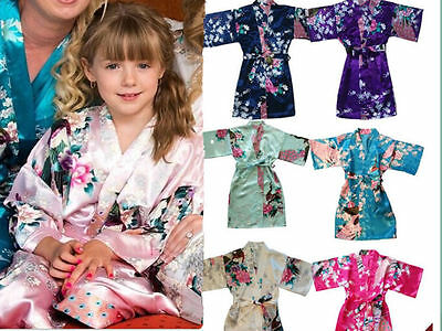 New Kid's Girl Peacock Sleepwear Bride Kimono Bath Robe Satin Night Dress Gown