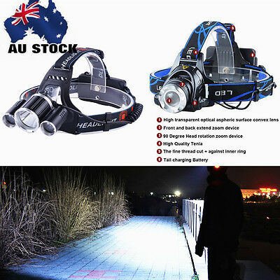Rechargeable 8000 Lm LED Headlamp 3X-XML T6 Headlight 3000LM T6 Head Torch 18650