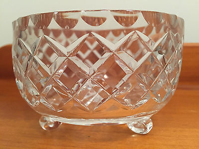 Vintage Small Lead Crystal Bowl With Curved Leg Base - 11cm