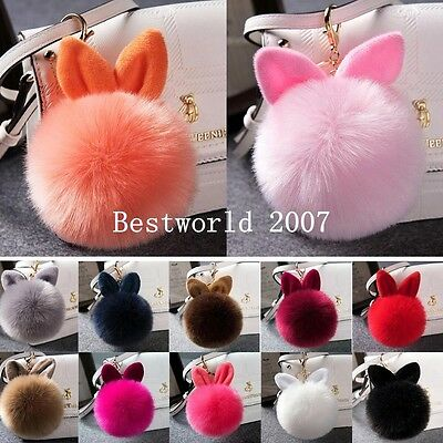 Fluffy Faux Fur Rabbit Ear Pompom Ball HandBag Pendant Car Keyring Key Chain New