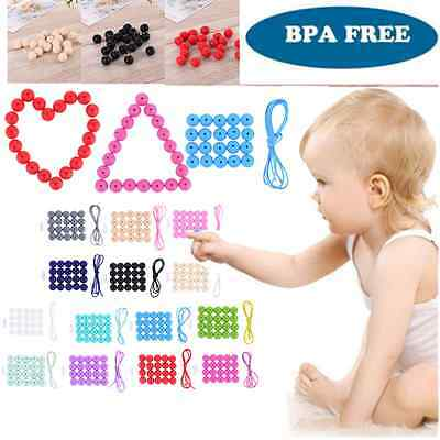 Baby Silicone Teething Necklace Cute Free Nursing Teether Round Beads Chain BPA