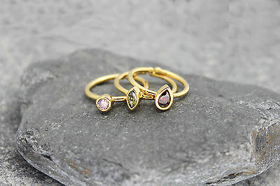 9  pcs rings stackable cz zirconia adjustable gold plated multicolor lot bezels