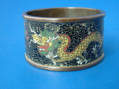 Vintage Chinese Cloisonne Napkin Ring  - Yellow 5 Toed Dragons on a Black Ground