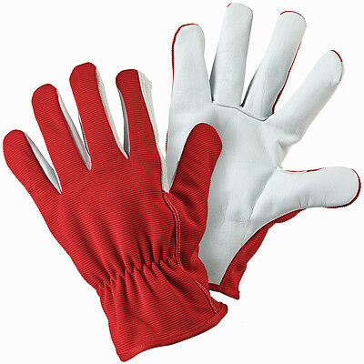 Briers Red Grey Lined Dual Leather Garden Gardening Gloves [B6319] Size 8 MED