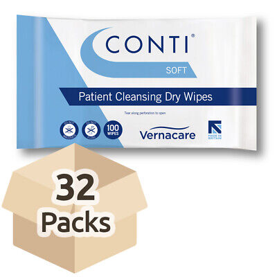 32x Conti Soft Patient Cleansing Dry Wipes - 32cm x 28cm - Washing Aid