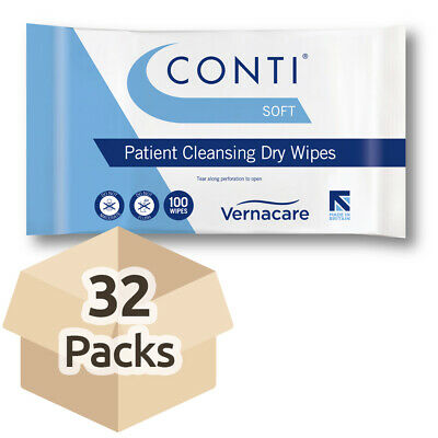 Conti Soft Patient Cleansing Dry Wipes - Case - 32 Packs of 100
