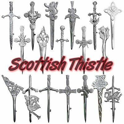 "Men's Scottish Thistle Kilt Pins Various Design/Celtic Kilt Pins/Swirl Celtic 3"" • EUR 4,12"