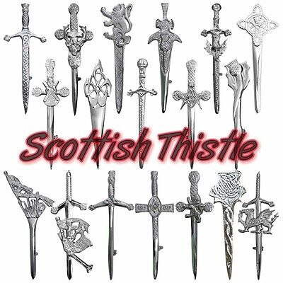 Scottish Kilt Pins Thistle,Stag Head Chrome Celtic Knot Highland Pin & Brooches