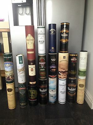 Collection Of 20 Whisky Tins Tubes Advertising Pub Bar Man Cave Window Display