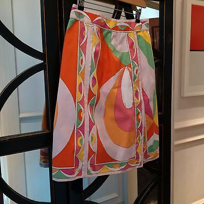 Vintage 1970s Emilio Pucci abstract cotton skirt (yellow, green orange). Size 14