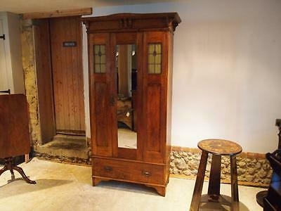 Wardrobe arts and crafts single Oak c1900