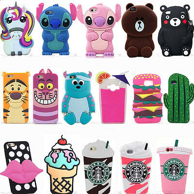 For Samsung 3D Cool Cute Hot Animals Cartoon Soft Silicone Case Covers Back Skin