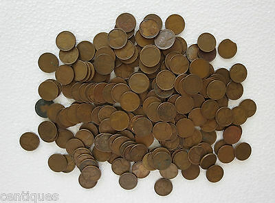 Lot of 225 Wheat Penny Lincoln Cents from 1910's, 1920's, 1930's & 1940's Years