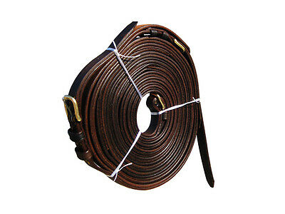 "1"" Leather Driving Reins In Oily Brown Color Available In Full,cob & Pony Size"