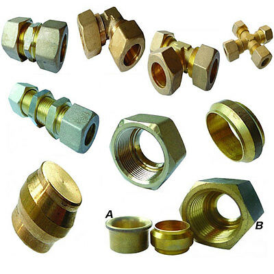 Brass Compression Fittings, Plumbing quality, Air, Water, Gas, Metric Sizes.