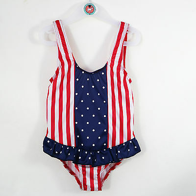 """USA"" Red White Blue Baby Girls Swimming Costume Design Frills Age 18-24 Months"