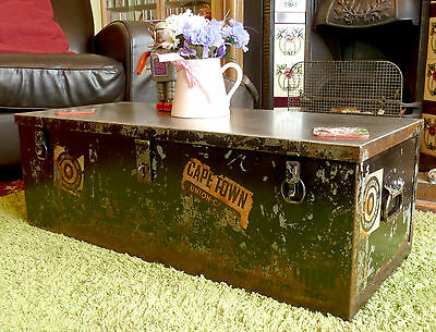 Restored Very Large Heavy Steel Travel Trunk Patina Antique Vintage Industrial