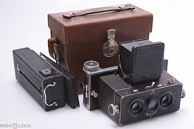 Rollei Heidoscop 6X13Cm 3D Stereo Camera Zeiss 7.5Cm 4.5 W/ 120 Roll Film Back