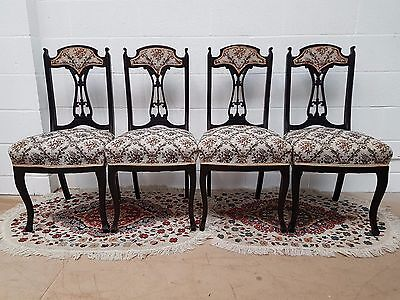 Set of Four 4 Antique Edwardian Mahogany & Ornate Fabric Kitchen Dining Chairs