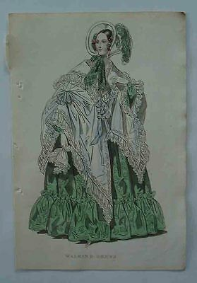 An Early Victorian Original Print of a Ladies Walking Dress.Very Rare.