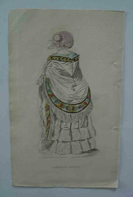 An Early Victorian Original Print of a Ladies Carriage Dress.Very Rare.