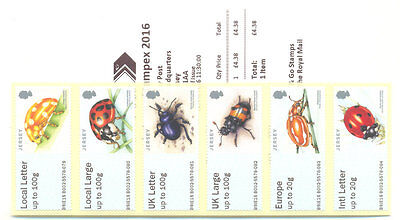 Jersey-Post & Go- Beetles-Insects-mnh strip sept 2016