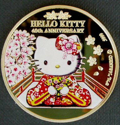 Hello Kitty 40th Anniversary 2014 Gold Plated Colourised Collectors Coin