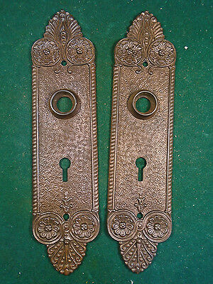 Pair Vintage Cast Steel Bronzed Victorian Door Backplates - Beautiful     (6652)