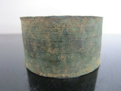ANCIENT Luristan Bronze Cuff BRACELET Geometric Pattern Engraved 1200-800 BC