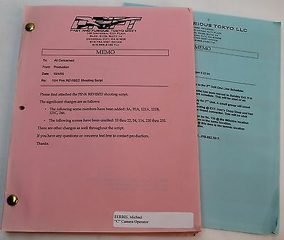The Fast and the Furious: Tokyo Drift * 2005 Original Movie Script & Storyboards