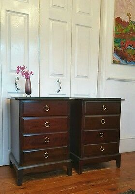 2 x Stag Mahogany 4 Drawer Bedside Tables  - Delivery