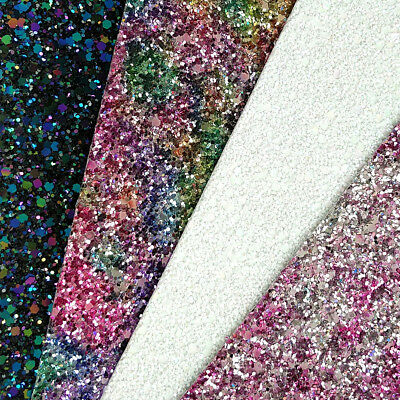 Ultra Chunky Glitter Fabric A4 Or A5 Sheets Faux Leather For Bows & Crafts