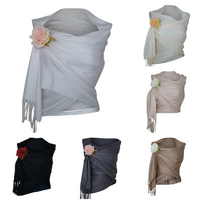 Pashmina Scarf Wrap Shawl Wedding Evening Ladies Prom White Black Silver Cream