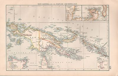 "1900 ""times""  Large Antique Map - New Guinea And Papuan Archipelago"
