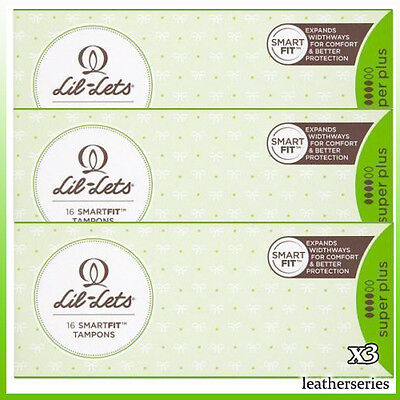 3 x Lil-Lets Non-Applicator Tampons Super Plus 16 Pack