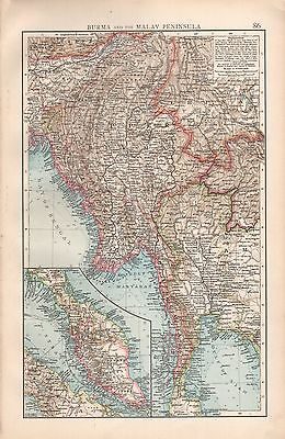 "1900 ""times""  Large Antique Map - Burma And The Malay Peninsula"