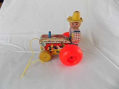 """Vintage 1961 Fisher Price 629 Farmer on Tractor 5"""" Pull Toy"""