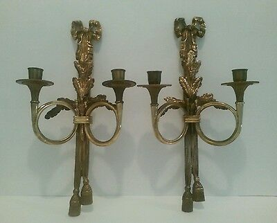Vintage Pair Double Arm French Style Wall Sconce Candle Holder