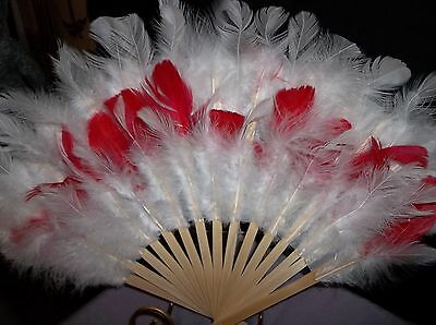 Hand Fans w White Feathers On Bamboo or Add Colors 14 in W Choose Color or White