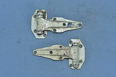 Antique SET of 2 FRANCIS KIEL ICE BOX HARDWARE HINGES RESTORATION PARTS Lot #68