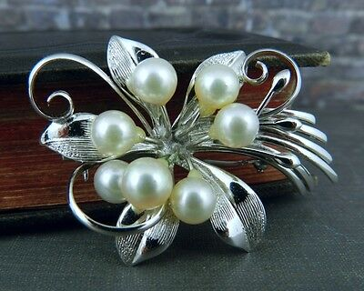 Silver & Pearl Flower Pin / Brooch